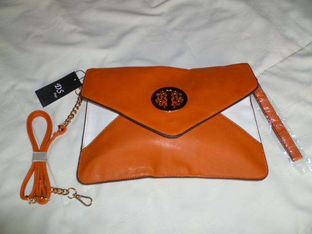 Cartera Multiusos Color Naranja Y Blanco