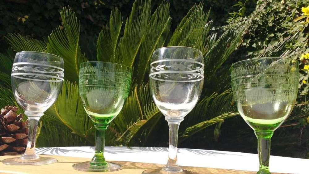 Copas Antiguas Talladas verde y blancas son seis