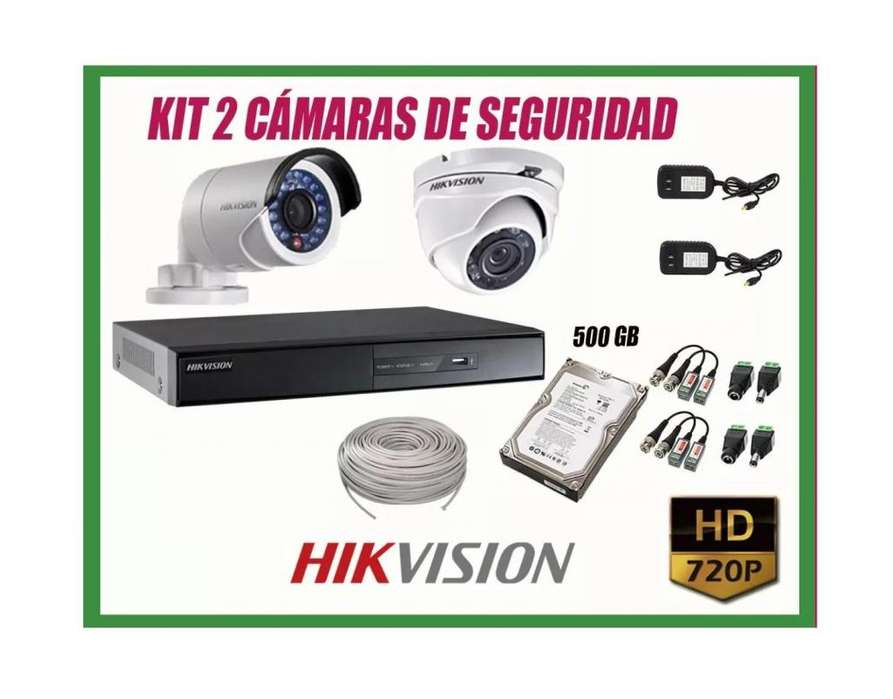 Kit 2 Camaras De Seguridad Hikvision Disco 500gb Cable 40m Nuevo Envios Gratis Pago Contraentrega MODITECPERU2025