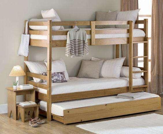 Camarotes con cama auxiliar económicos en cedro.