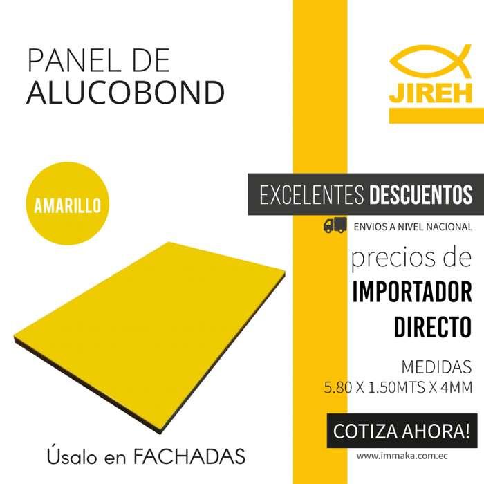 Panel de Aluminio Compuesto Amarillo Alucobond en Quito, Policarbonato, Acrilico, Cielo raso PVC, Fachadas