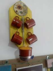 Reloj de pared artesanal para cocina en madera