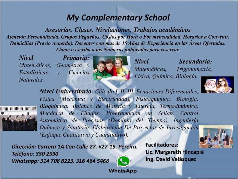My Complementary School . Asesorías. Clases. Nivelaciones.