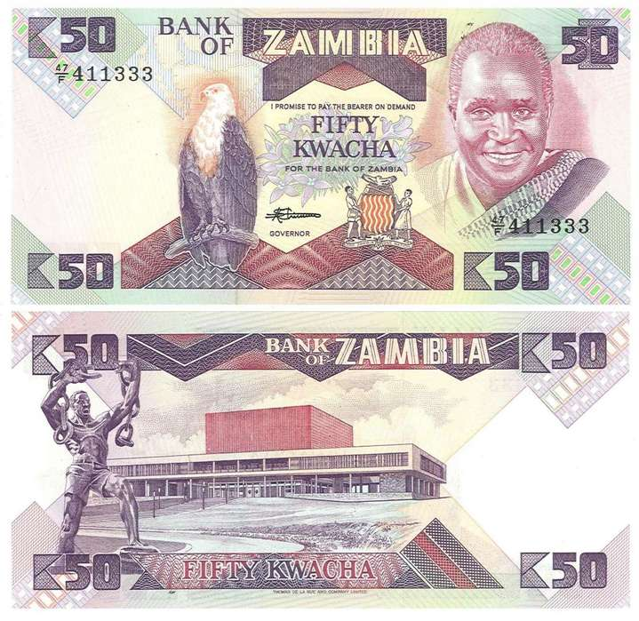 ZAMBIA. BILLETE. 50 KWACHA. 1986. ESTADO 9 DE 10. VALOR 44400 57600 EN CATALOGO
