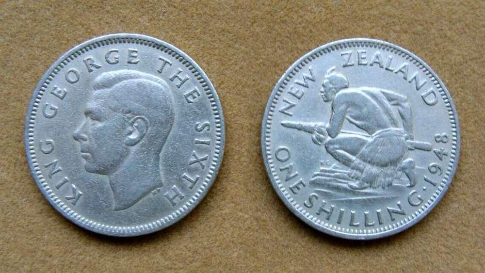 Moneda de 1 chelín Nueva Zelanda 1948