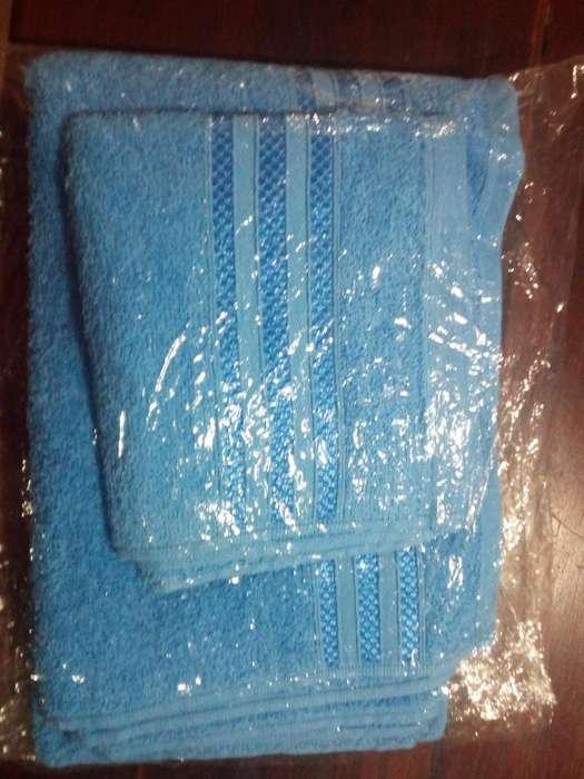 juego de toalla y toallón 100% algodón