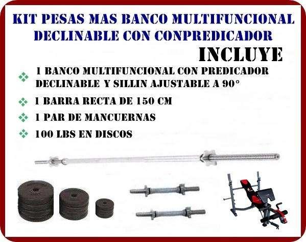 PROMOCIÓN!!: BANCO MULTIFUNCIONAL DECLINABLE CON PREDICADOR MAS KIT DE PESAS