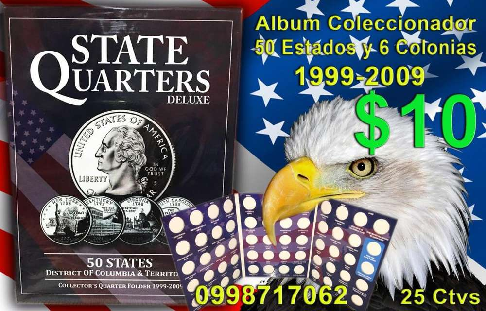 album para coleccionar monedas para cuartos de dolar nuevos de estados y colonias y parques nacionales