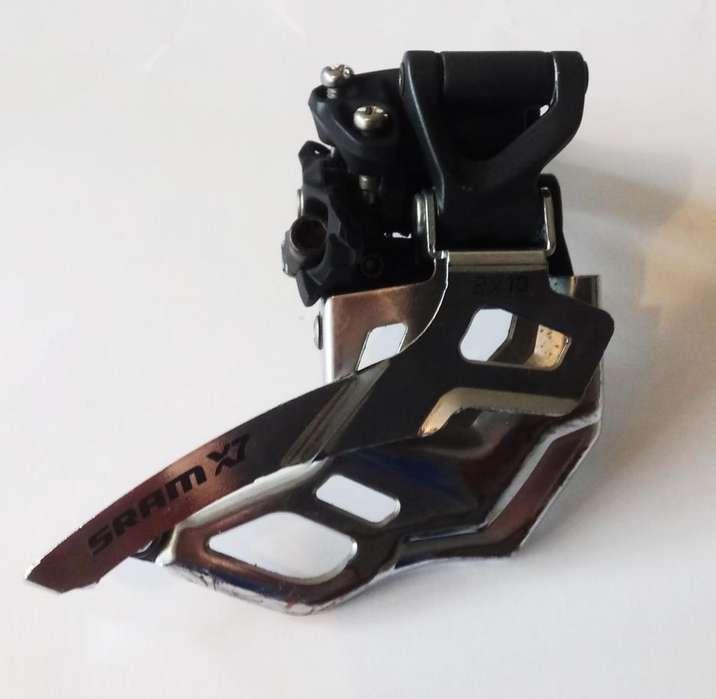 Sram X7 Desviador / Descarrilador Delantero para Doble Plato, Abrazadera Alta Dual Pull 2x10, Bicicleta