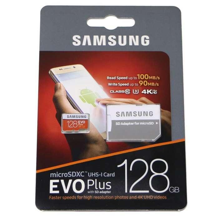 Micro Sd Samsung 128 Gb Clase 10 U3 Evo Plus 4k 100mbps nueva de paquete