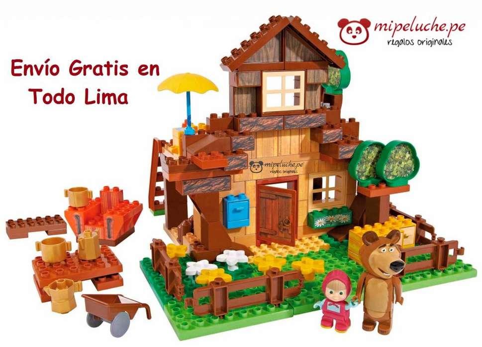 Masha y el Oso, Casa Del Oso, Bloques Para Armar Lego Marca Playbig