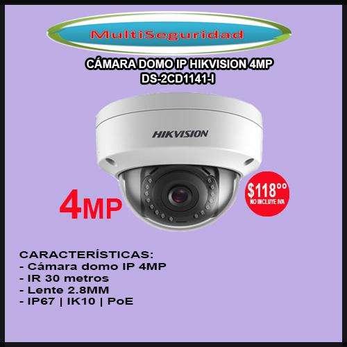 CÁMARA IP DOMO HIKVISION 4MP DS2CD1141I IK10 30M PoE