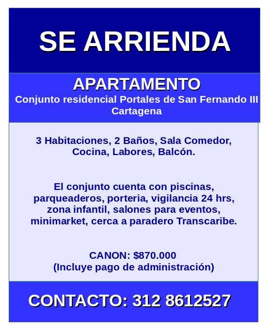 APARTAMENTO EN CONJUNTO RESIDENCIAL PORTALES DE SAN FERNANDO III
