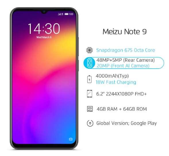 Meizu Note 9 4GB 64GB Snapdragon 675 Octa Core 6.2 '' 48MP Cámara doble AI frente 20MP 4000mAh