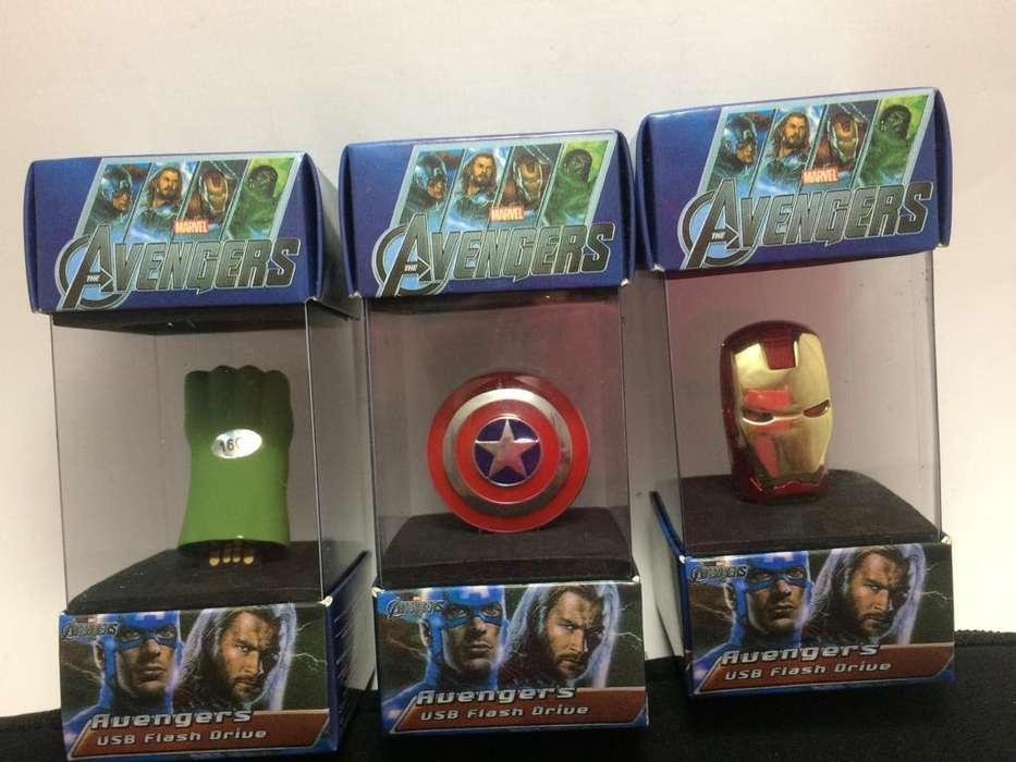 Pendrive 16 GB de Hulk, Capitan y Iron man.