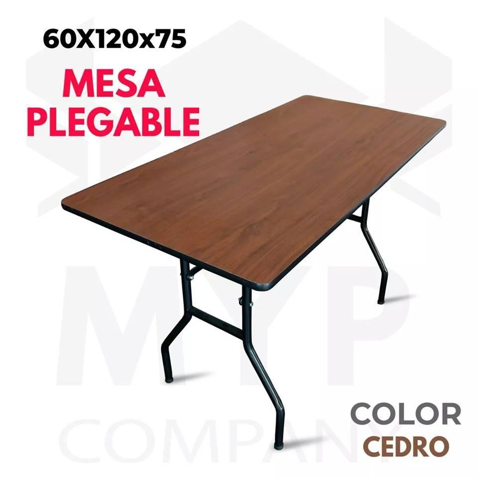 Mesa Plegable Hogar.Mesa Plegable 60x120x75 Color Cedro Ideal Para El Hogar Y