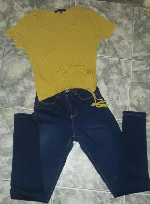 Jeans Talle 36 Y Remera Talle M