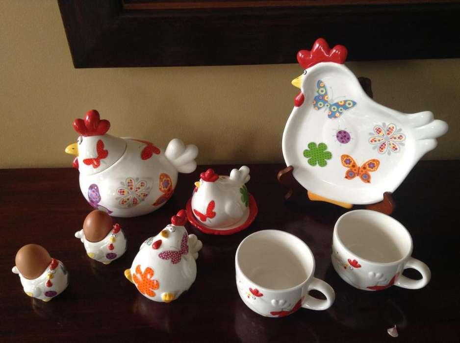<strong>juego</strong> para desayuno en forma de gallina x22 piezas