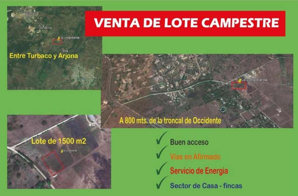 VENDO LOTE 1500M2 ENTRE TURBACO Y ARJONA EXCELENTE PRECIO