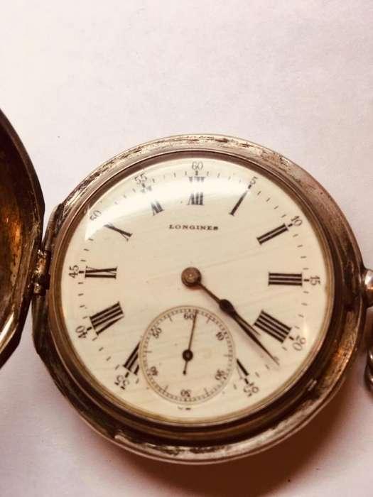 Reloj LONGINES Tres tapas Plata 900 de Bolsillo Original