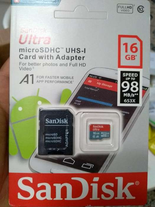 Microsd Sandisk16gb Clase10,uhs1u3v10
