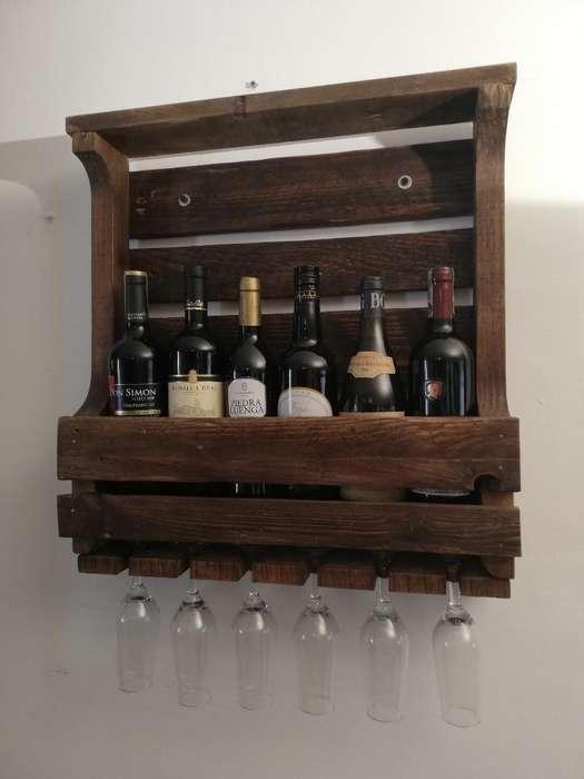 Botellero bar <strong>cava</strong> Copas Decoración Madera vintage Regalo