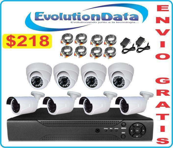 ENVIO GRATIS Kit 8 Camaras Dvr Cctv Seguridad Hd Vision Nocturna Audio