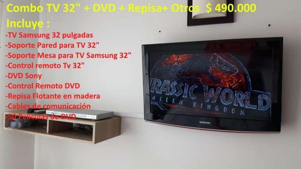 Combo TV Samsung LED 32 Pulgadas DVD Sony Repisa Soportes Controles Películas