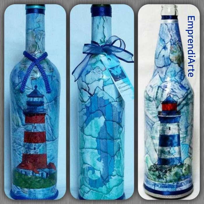 Botellas decorativas decoupage