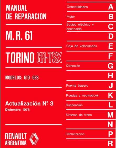 TORINO 619-628 MANUAL DE REPARACION ACTUALIZACION No. 3 1978