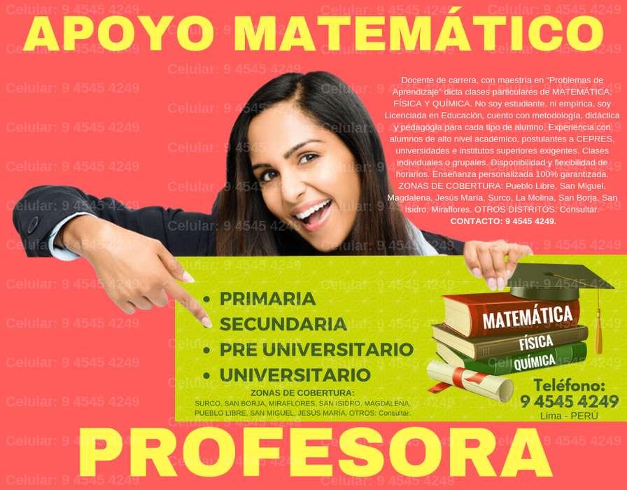MISS MARIELLA. CLASES A DOMICILIO. PRIMARIA, SECUNDARIA Y PRE. PROFESOR PARTICULAR DE MATEMÁTICA, FÍSICA Y QUÍMICA.