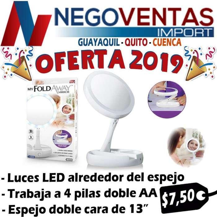 ESPEJO CIRCULAR FLEXIBLE DE MAQUILLAJE CON LUZ LED INTEGRADAS