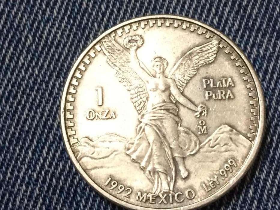 VENDO MONEDA MEXICANA, AÑO 1992, 1 ONZA DE PLATA PURA