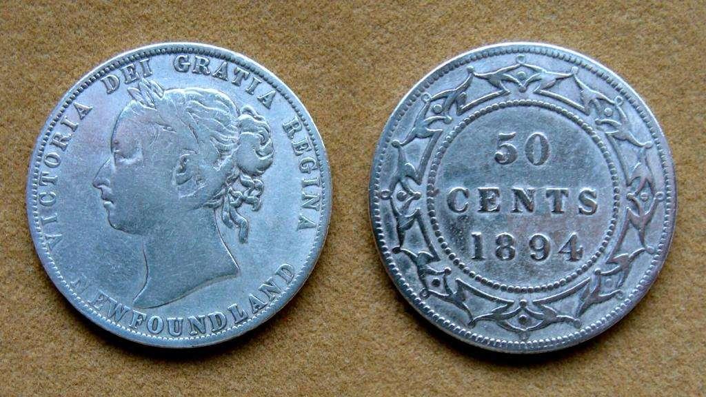 Moneda de 50 cents de plata Isla de Terranova, Canadá 1894