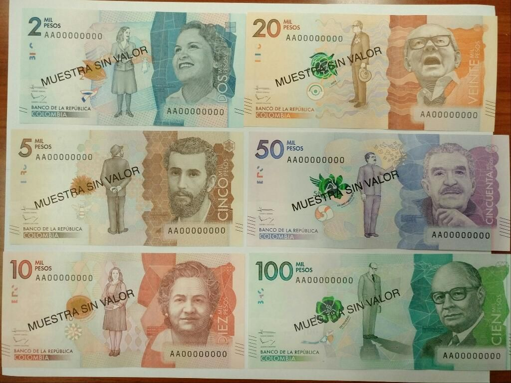 Colección Billetes Colombia Nueva Familia