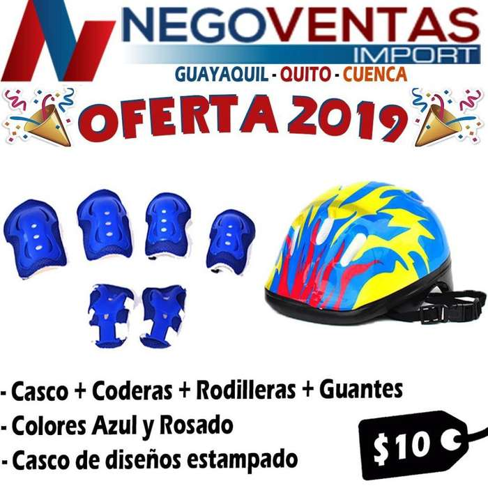 KIT DE PROCTECCION CASCO RODILLERAS CODERAS DE OFERTA