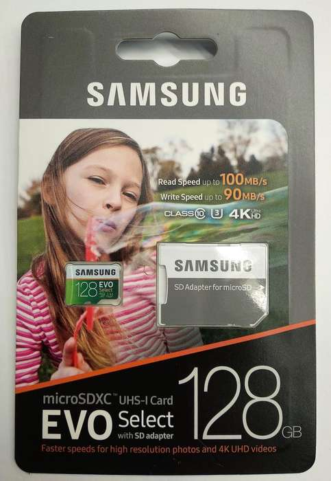 MEMORIA SAMSUNG de ALTA VELOCIDAD SAMSUNG EVO SELECT MICROSD 128GB de 100MB/s ORIGINAL NUEVO