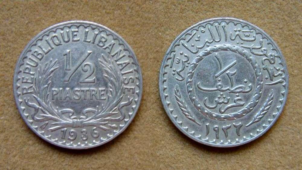 Moneda de 1/2 piastre Líbano 1936