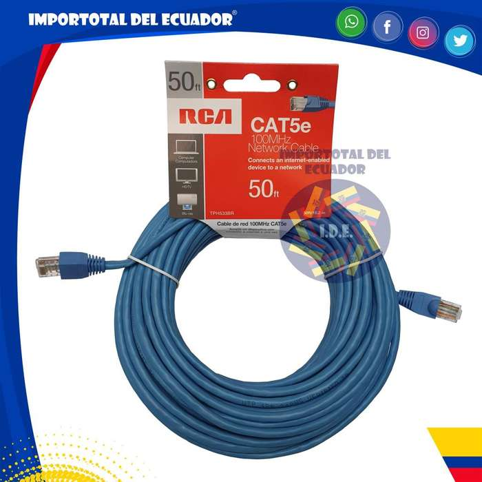 Cable de red, ethernet ó rj45 ''nuevo'' tipo flexible categoría 5e marca RCA alta calidad / Longitud 15 metros