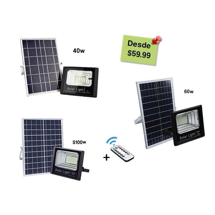 Reflectores LED 40w, 60w y 120w con batería panel solar