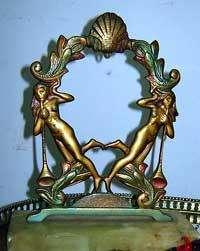 Lindo par de figuras de bronce patinado base màrmol portaretrato adorno