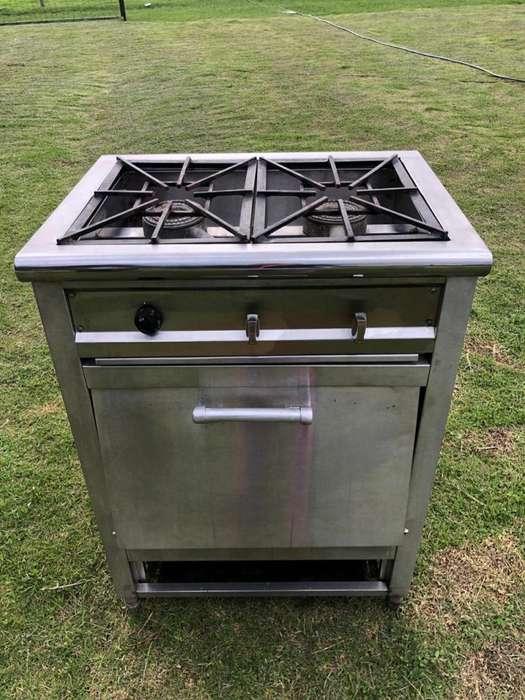 Estufa industrial de 2 puestos con horno multiusos con gratinador, termostato y termometro.