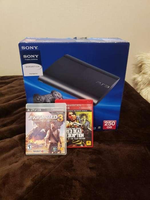 Playstation 3 Ultra Slim 250GB 2 Joysticks 2 Juegos físicos (PS3)