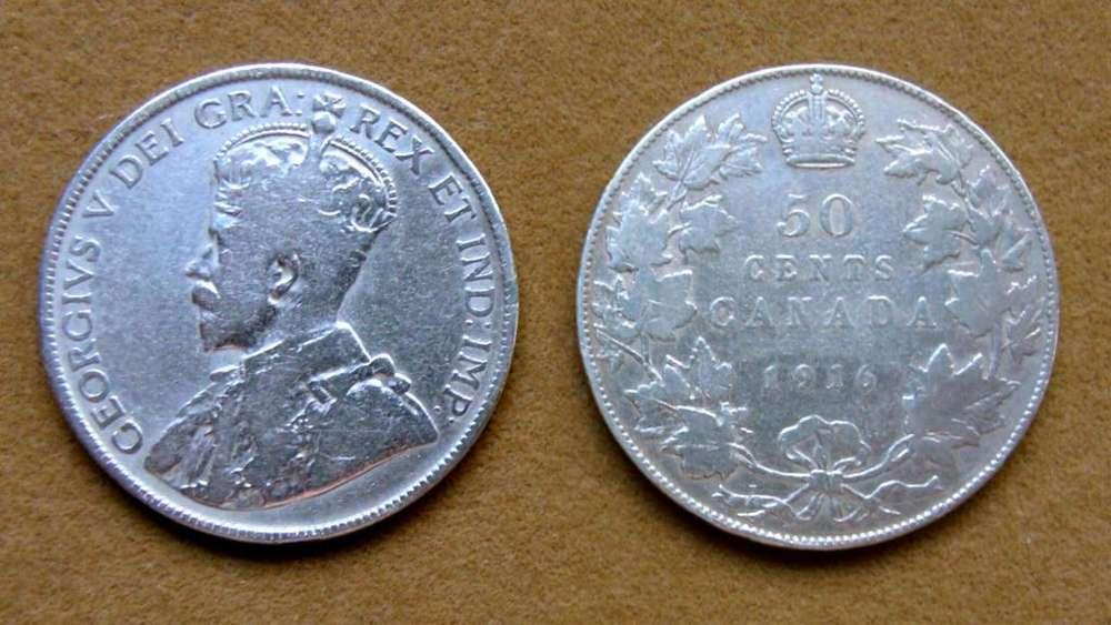 Moneda de 50 cents de plata, Canadá 1916