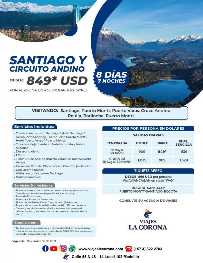 Viaje como un Rey a Santiago y circuito Andino  con Viajes la Corona