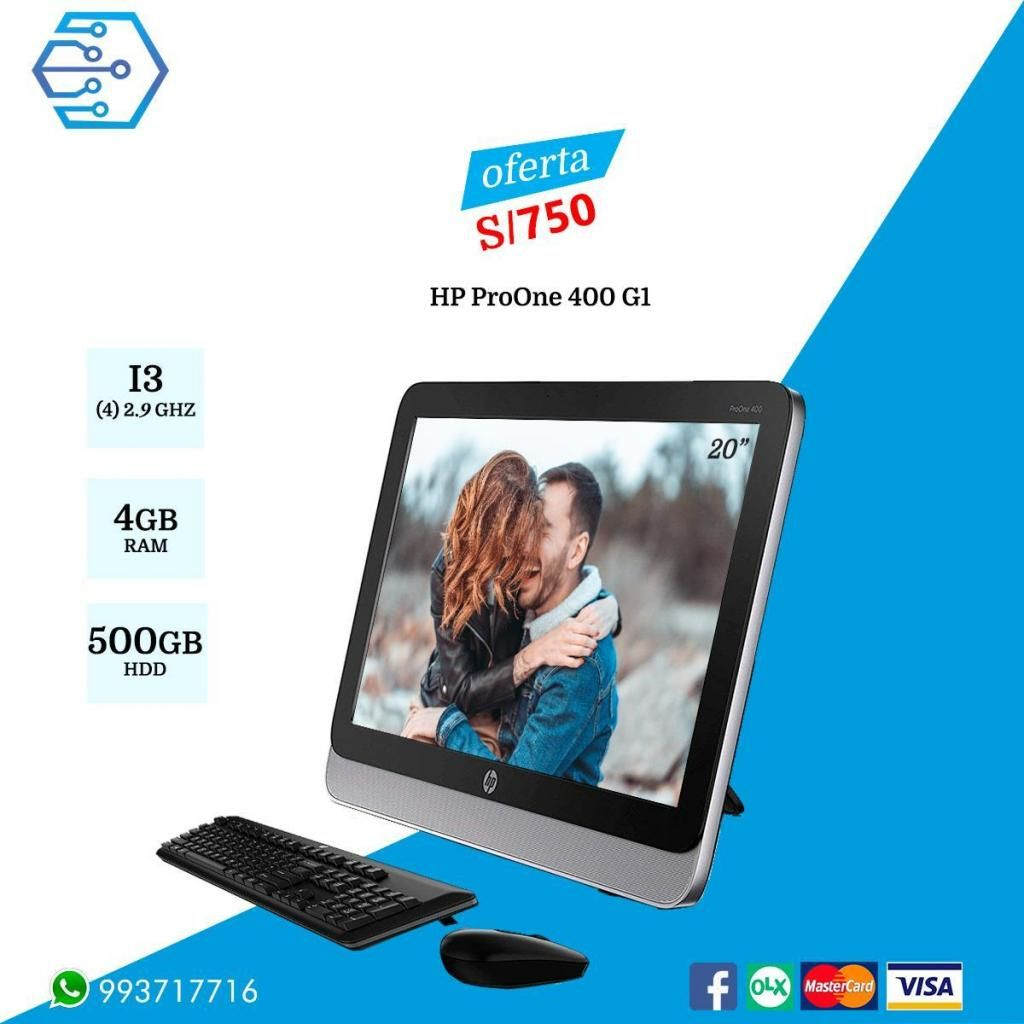 ALL IN ONE HP PROONE 400 G1 - CORE I3 4TA Gen, 2.9 ghz, 4GB RAM DISCO 500GB LED 20 HD  OFERTA S/ 750