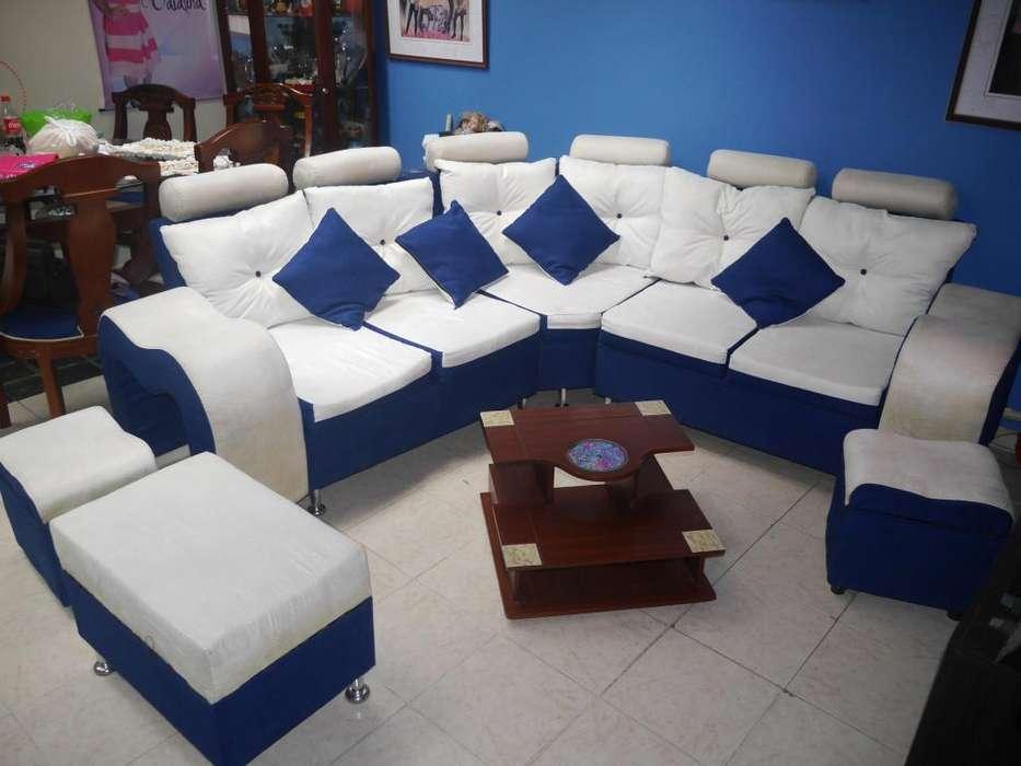 Sofa en L esquinero beige y azul oscuro accesorios