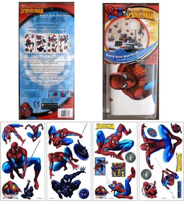 SPIDERMAN Set de 25 sitckers pegar despegar