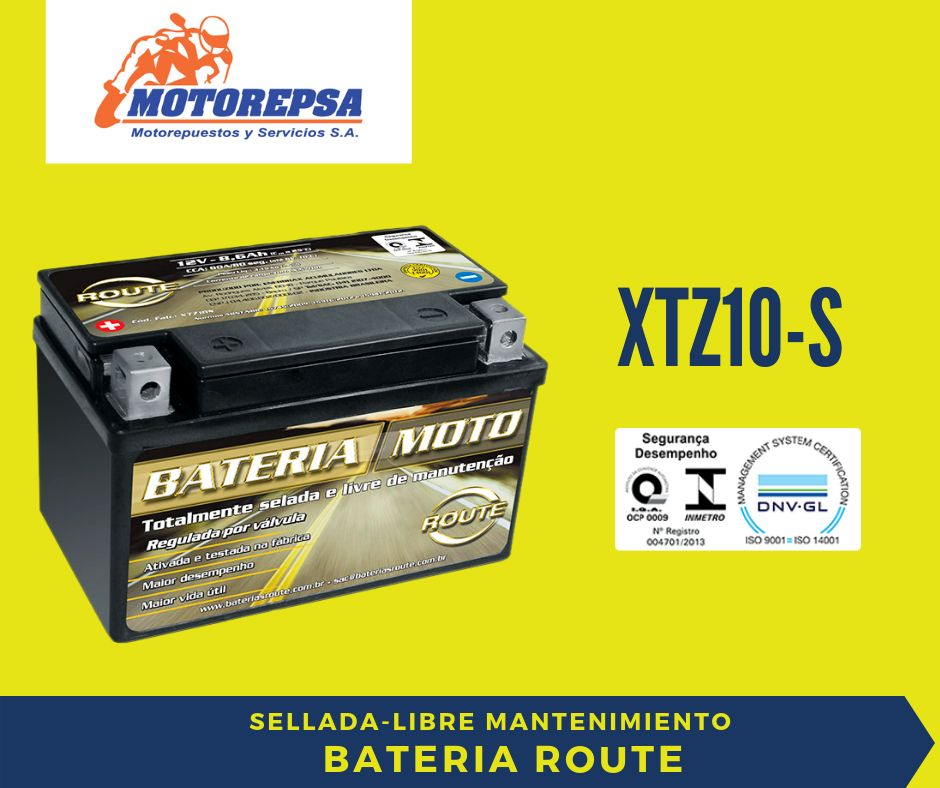 Bateria ROUTE MOTO XTZ10 S / 12V8,6Ah