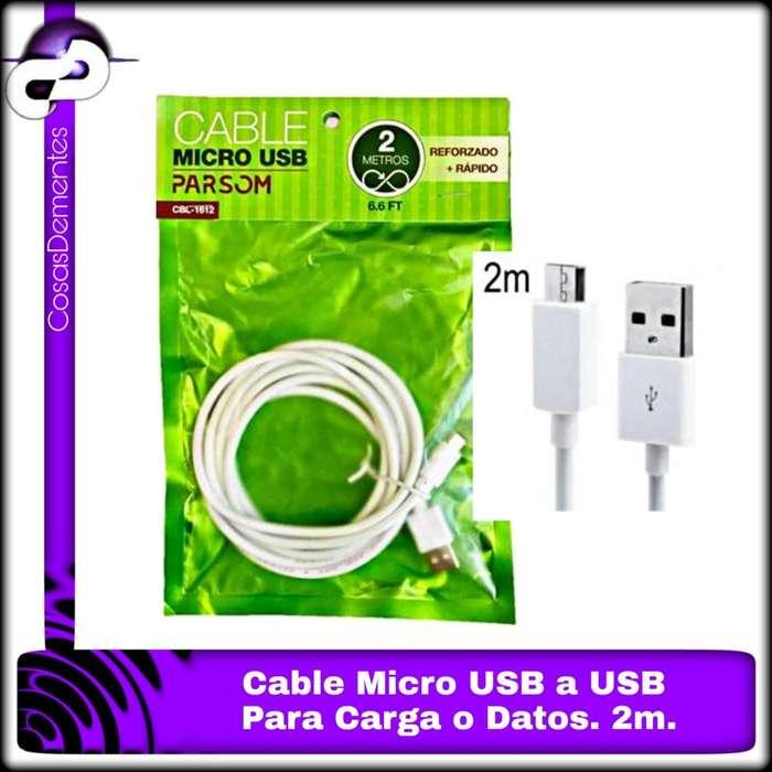 CABLE USB V8 CARGA Y DATOS PARSOM LARGO 2 METROS